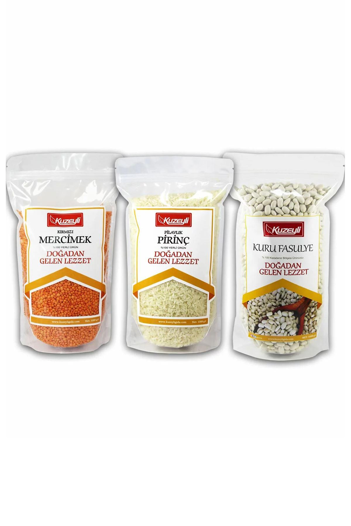 Muhteşem 3'lü - 1 kg Pirinç (yerli) 1 kg Kuru Fasulye (yerli) 1 kg Kırmızı Mercimek (yerli)